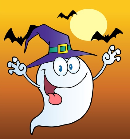 stock clipart icons: Spooky Ghost Wearing A Witch Hat Over Bats On Orange