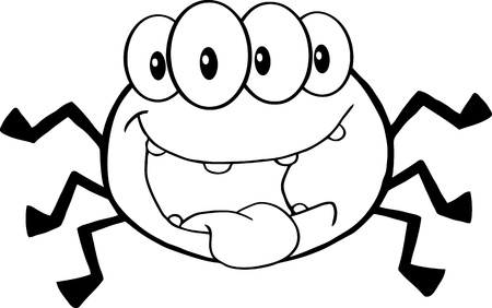 Outlined Four Eyed Creepy Spider