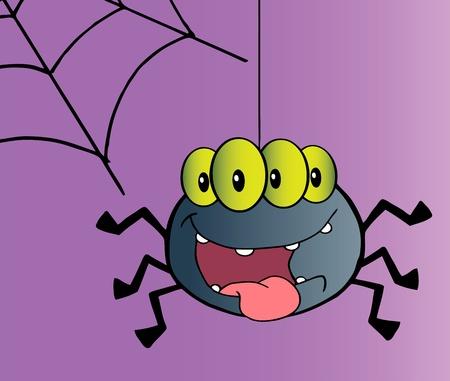 Vier Eyed Creepy Spider hangt aan een Web
