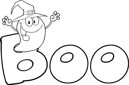 Outlined Scaring Ghost Wearing A Witch Hat In The Word BOO Vector