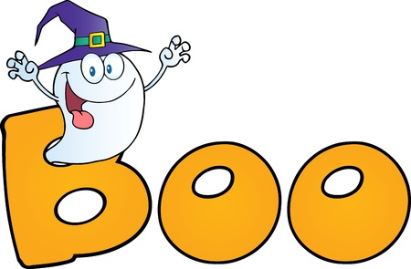 ghost: Scaring Ghost Wearing A Witch Hat In The Word BOO Illustration