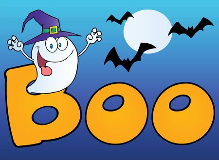 boo: Ghost Wearing A Witch Hat In The Word BOO With Bats On Blue