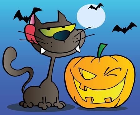 Black Cat And Winking Halloween Jackolantern Pumpkin With Bats On Blue Vector