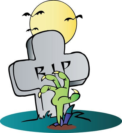headstone: Zombie Hand Reaching Up From The Earth In Front Of A Tombstone Illustration
