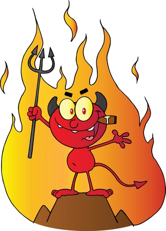 Little Red Devil Holding Up A Pitchfork And Smoking A Cigar In Front Of Fire Vector