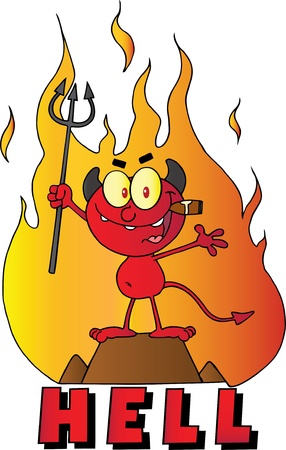 Little Red Devil Holding Up A Pitchfork And Smoking A Cigar In Front Of Fire And Hell Text Vector