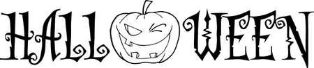 Pumpkin With Halloween Text Vector