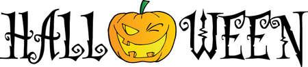 calabaza caricatura: Texto de Halloween con guiños de calabaza
