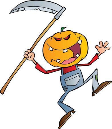 scythe: Grinning Scarecrow Reaper With Scythe Illustration