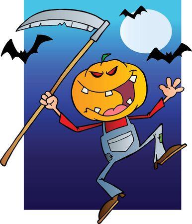 guadaña: Sonriendo Espantapájaros Reaper con guadaña en la noche de Halloween