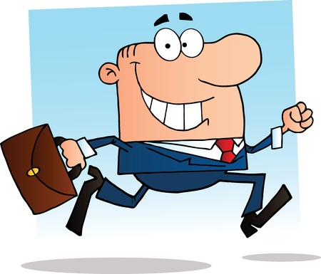 appointments: Businessman Running To Work Illustration