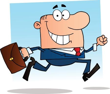 suit case: Businessman Running To Work Illustration