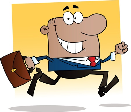 work: African American Businessman Running To Work With Briefcase Illustration