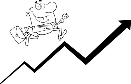 Outlined Businessman Running Upwards On A Statistics Arrow Stock Vector - 10956513