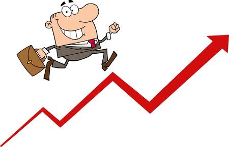 Happy Businessman Running Upwards On A Statistics Arrow Vector