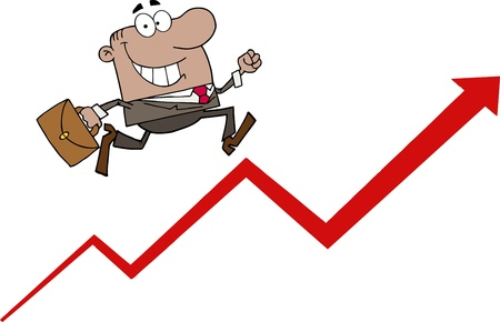 Happy African American Businessman Running Upwards On A Statistics Arrow Vector
