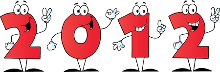 2012 New Year Red Numbers Cartoon Characters Stock Vector - 11126010