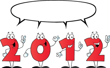 2012 New Year Numbers Cartoon Characters With Speech Bubble Vector