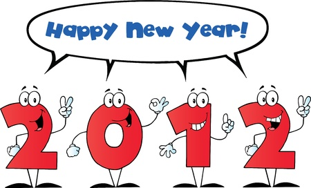2012 New Year Numbers Cartoon Characters With Speech Bubble And Text Stock Vector - 11126012