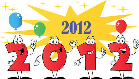 2012 New Year Numbers Cartoons With Stars And Balloons Stock Vector - 11126015