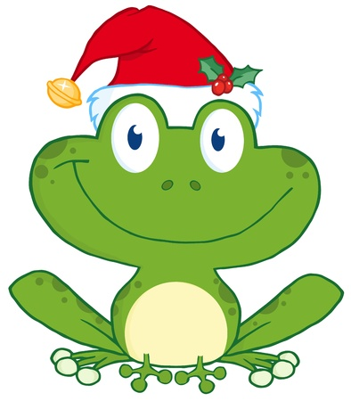christmas frog: Happy Frog With Santa Illustration
