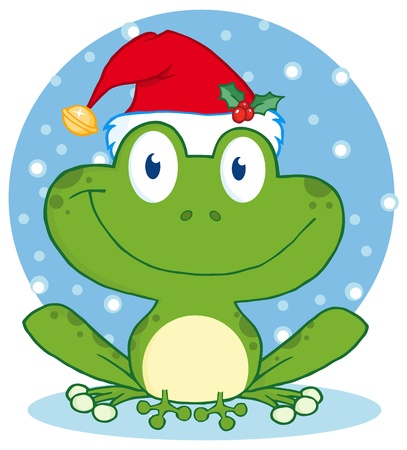 Christmas Happy Frog Vector