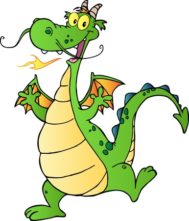 Happy Dragon Cartoon Character Vector