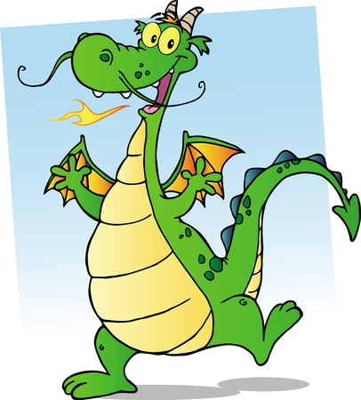 Happy Green Fire Breathing Dragon Dancing Vector