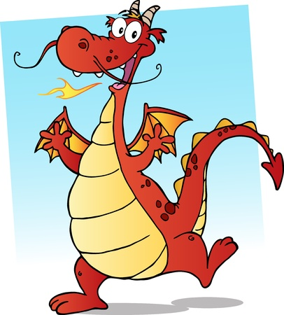 Happy Red Fire Breathing Dragon Dancing Stock Vector - 11808062