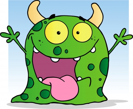 Happy Little Monster Cartoon Character Vector