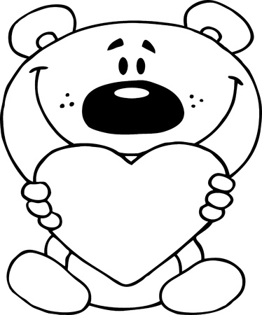 clip art draw: Outlined Teddy Bear Holding A Red Heart
