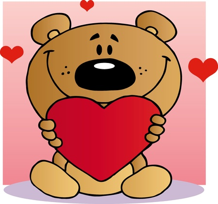 Happy Teddy Bear Holding A Red Heart Vector