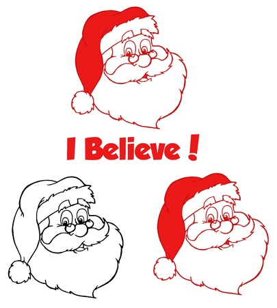 weihnachtsmann lustig: Klassische Weihnachtsmann Head.Vector Sammlung Illustration