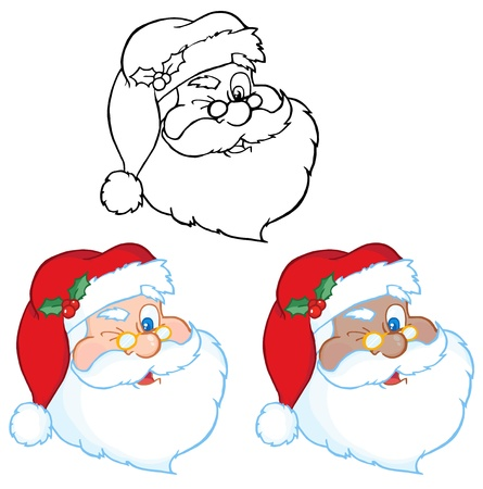 Santa Claus Winking Classic Cartoon Vector