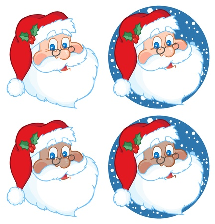 saint nicholas: Classic Santa Claus Head.Vector Collection