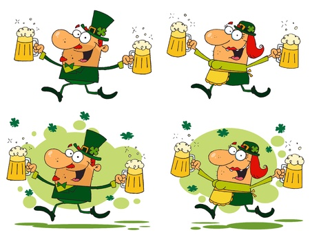 Running Funny Leprechauns.Vector Collection Vector