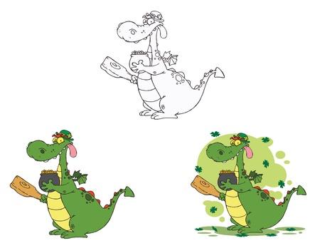 paddys: Dragon Leprechaun.Vector Collection Illustration