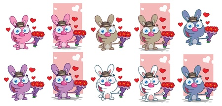 Romantic Bunny. Vector Collection Vector