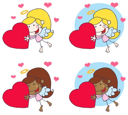 Sweet Female Stick Cupid Holding A Heart.Vector Collection Vector