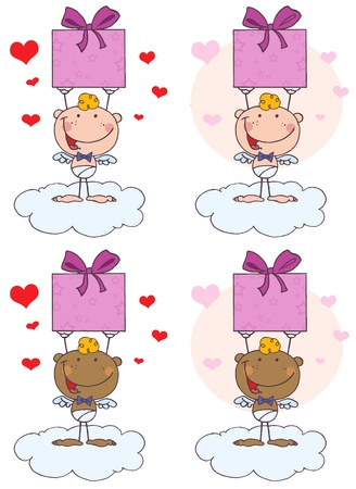 Stick Cupid Holding Up A Gift.Vector Collection Vector