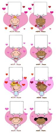 Glücklich-Stick Cupids Holding A Banner.Vector Sammlung Standard-Bild - 11912567