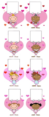 Happy Stick Cupids Holding A Banner.Vector Collection Illustration