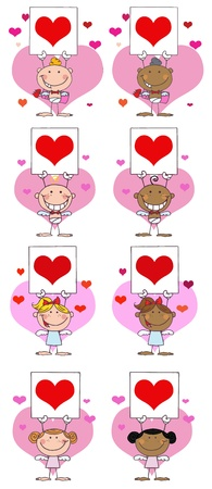 Stick Cupids Holding A Banner With Heart. Vector Collection Vector