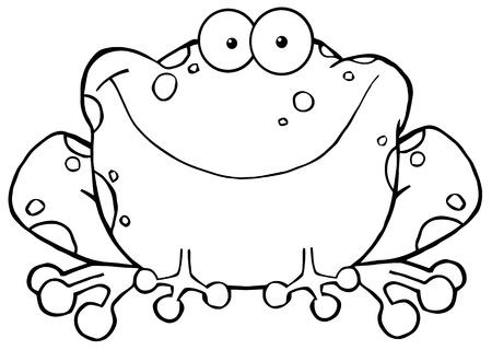 outlined isolated: Esbozo de dibujos animados rana feliz Character.Vector ilustraci�n