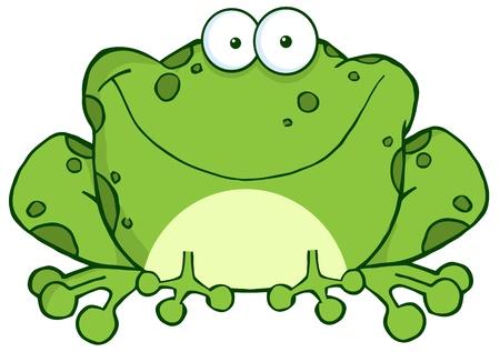 лягушка: Счастливые иллюстрации Лягушка мультфильм Character.Vector Иллюстрация