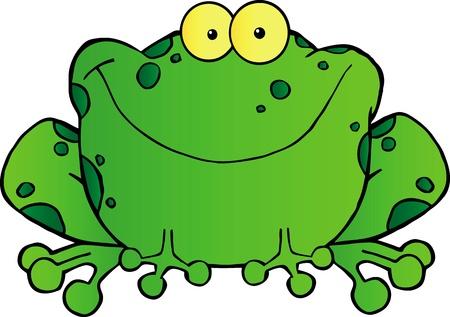 smiling frog: Cartoon Grasa rana mascota Character.Vector ilustraci�n Vectores
