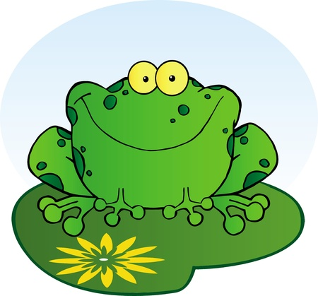 croaking: Happy Frog On A Lilypad.Vector illustration