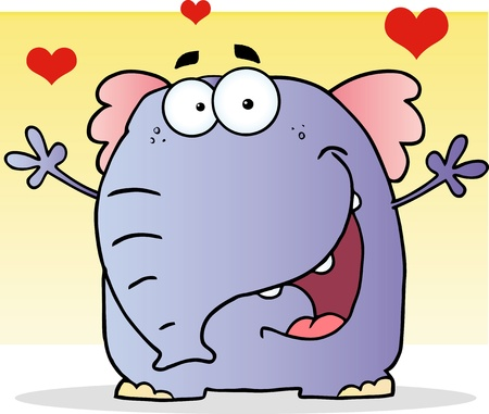 funny pictures: Smiling Elephant Cartoon Character Illustration