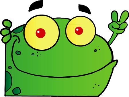 Frog Gesturing The Peace Sign With His Hand Vector