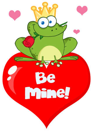 the frog prince: Frog Prince On A Red Heart